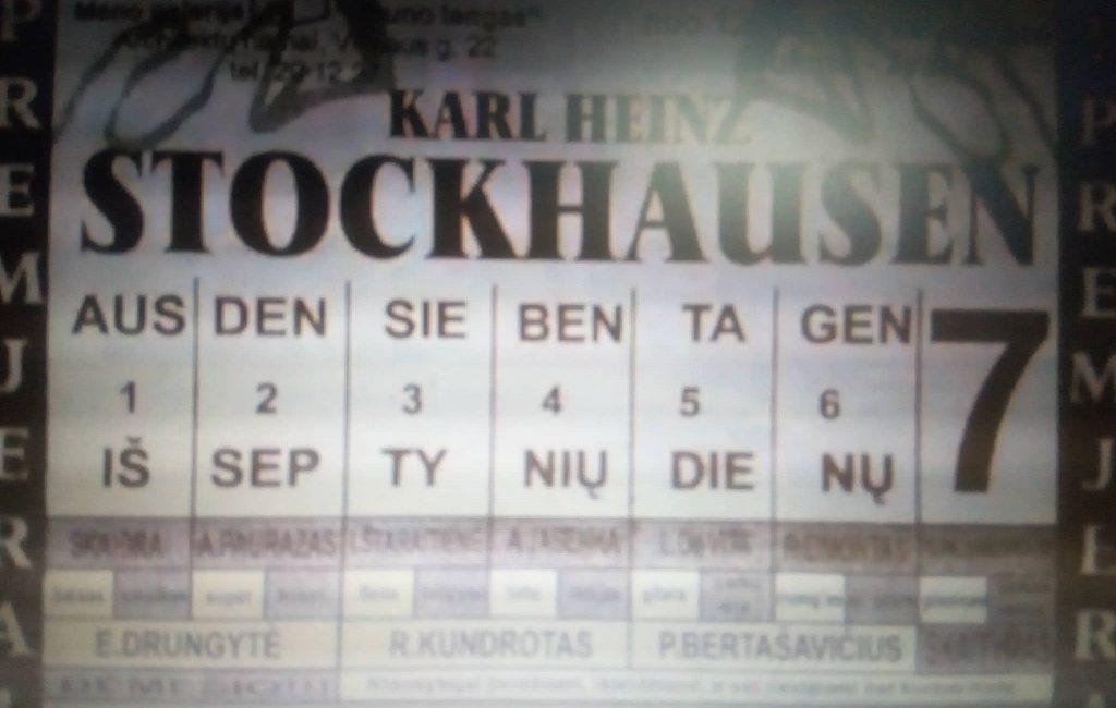 """Karlheinz Stockhausen ,,IŠ SEPTYNIŲ DIENŲ"""""""